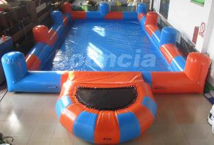 0.6mm PVC Tarpaulin Inflatable Water Pool With Platform And Fence
