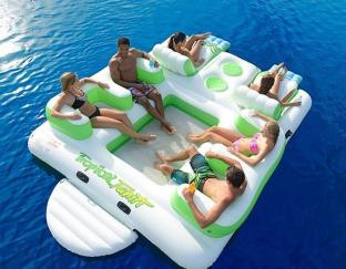 Inflatable Island Floating Lounge / Inflatable Island Rafts For Sale