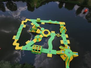 Bouncia New Inflatable Water Park Project in UK With TUV Certification For Kids And Adults