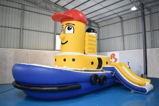 Bouncia New Inflatable Tug Boat / Inflatable Theodore Tugboat For Water Park
